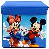 Baby Grow Children's Toy Box Kids Storage Bench Folding Stool Under Lid Toy Chest Organizer (Mickey Minnie)