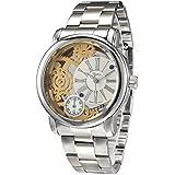 Alienwork Reloj cuarzo esqueleto cuarzo moda Metal blanco plata 2034G-04