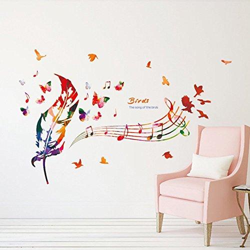 Adesivi da parete note musicali a colori adesivi murali con piume colorate, uccelli e farfalle decorazione rimovibili vinile diy stickers murali per soggiorno, camera da letto / decorazione murali da parete