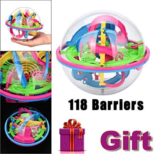 (Mini Ball Matze Intellekt 3D Puzzle Spielzeug HARRYSTORE Balance Barriere Zauber Labyrinth Kugelförmig (118 Barrieren))