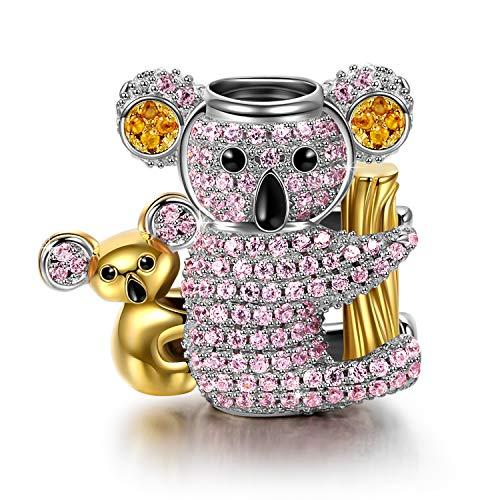 NINAQUEEN Pandora Charms angepasste Charm Geschenk für Frauen Weihnachtgeschenke Koala Beutelbär Rosa Silber 925 Zirkonia Schmuck Damen mit Schmuckkästchen Damen Geschenke für Mama