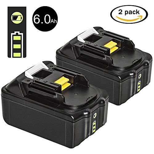 LiBatter 2 Stück 18V 6,0Ah Li-ion Ersatz Akku für Makita BL1850 BL1840 BL1830 BL1820 BL1815 194205-3 194309-1 LXT400 Werkzeugakkus (Mit 3 LED Kontrollleuchte) (Makita 18-volt Akku)