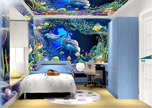 Preisvergleich Produktbild 4D Stereo Wandtapeten Dolphin Dolphin Cartoon Kinderzimmer Hintergrund Tapete Nahtlose Nahtlose (1 = 1 Quadrat) Nahtlose 4D Seide