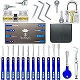 Bestargot - Dietrich Set, Lockpicking Set, 17-Teiliges Blauer High-End-Lock Picking Set aus Rostfreiem Stahl mit 2 Transparenten Training Vorhängeschlössern, BSTPL01