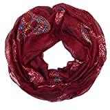 MANUMAR Loop-Schal für Damen | Hals-Tuch in Rot mit Totenkopf Motiv als perfektes Herbst Winter Accessoire | Schlauchschal | Damen-Schal | Rundschal | Geschenkidee für Frauen und Mädchen