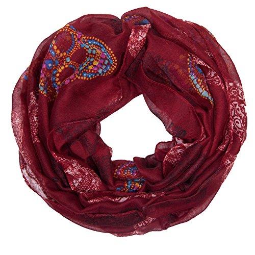 MANUMAR Loop-Schal für Damen | Hals-Tuch in Rot mit Totenkopf Motiv als perfektes Frühling Sommer Accessoire | Schlauchschal | Damen-Schal | Rundschal | Geschenkidee für Frauen und Mädchen