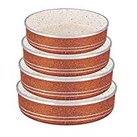Granite 4 pcs Round Oven Cookware Dish Set Kebbe Pan | 24/26/28/30 cm, 5 MM Thick | Dessini, Made in Italy (Rust Orange)