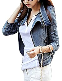 Femme Vintage Veste En Jean Manches Longues Zipper Up Jacket Denim Manteau