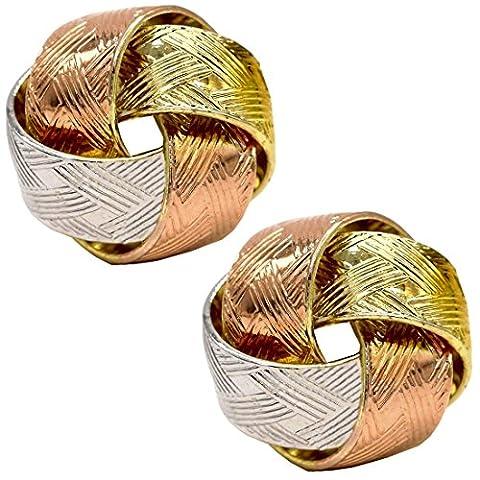 Juvel-Jewelry Multi-Ton 14 K vergoldete Rose Rhodium verknüpften Klassiker Gestüt