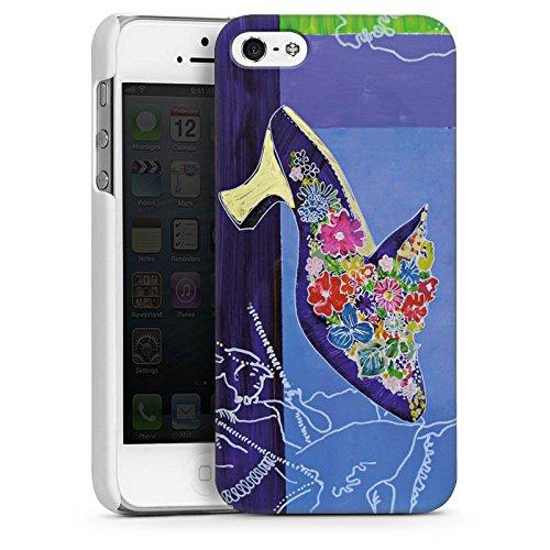 Apple iPhone 5s Housse Étui Protection Coque Chaussure Fleurs Fleurs CasDur blanc