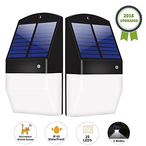 Yiiyaa Solarleuchten für Außen, Solar Wandleuchte Wasserdicht, Solarleuchte Garten Außenwandleuchte IP64 (2 Stück)