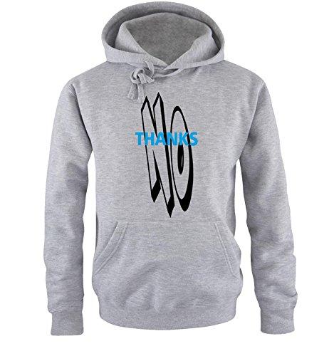 Comedy Shirts - NO THANKS - Uomo Hoodie cappuccio sweater - taglia S-XXL different colors grigio / nero-blu