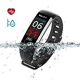 SAVFY Fitness Armband mit Pulsmesser, Wasserdicht IP67 Fitness Tracker Farbdisplay mit Schrittzähler, Kamerasteuerung, Vibrationsalarm Anruf SMS Whatsapp Beachten Kompatibel for iPhone Android Phone