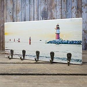 elbPLANKE mit Haken – Ostsee Warnemünde | 12×24 cm | Schlüsselbrett von Fotoart-Hamburg | mit 5 Antike Haken aus Holz (Kiefer/Fichte) – 100% Handmade