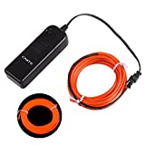 Automotive Battery Best Deals - Onite 16.4ft Red Neon Glowing Strobing Electroluminescent EL Wire Light with Battery Pack Controller for Parties, Halloween, Automotive, Advertisement Decoration (16.4ft, Red) by Onite