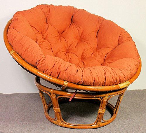 Rattan Papasan Sessel inkl. hochwertigen Polster , D 110 cm , Fb. cognac . Pad Lachsfarben . - 4