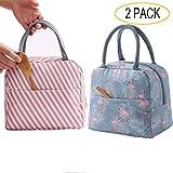 GCOA 2PCS Lunchpaket Kühltasche Kühlbox Isoliertasche Lunchtasche Mittagessen Tasche Picknicktasche für Lebensmitteltransport Arbeit Picknick (Flamingo & rosa Streifen)