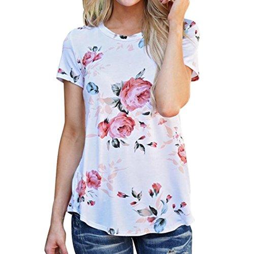 Damen T-Shirts, Switchali Frauen Kurzschluss Hülsen T-Shirt Blume Bedruckt Blusen Oberseiten Weiß