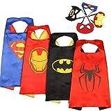 MVPower Costumes de Super Héros pour Enfants, 4 Capes et 4 Masques de Superman/Spiderman/Batman/Ironman pour Fêtes, Anniversaires, Logo Qui Brille dans Le Noir