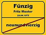 Ortsschild aus Aluminium in DIN A5, A4 und DIN A3 Geburtstag Deko Geschenk Verkehrsschild - Vers.2, Schildausführung:50 Jahre;Größe:A3 - 420 x 297
