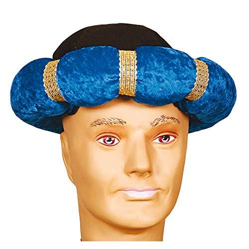 Nette Frauen Indische Kostüm - NET TOYS Turban für Erwachsene in SAMT-Optik | Blau in KW 60 | Schönes Unisex-Kostüm-Zubehör 1001 Nacht | Wie geschaffen für Fasching & Mottoparty