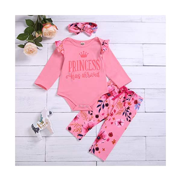 Greenwind Mameluco del bebé 3Pcs Infantil Baby Girls Letter Flower Print Romper Pants Hairband Outfits Set 2