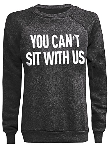 Unknown - Sweat-shirt - Tunique - Slogan - Col Rond - Femme Charcoal You Can't Sit With Us