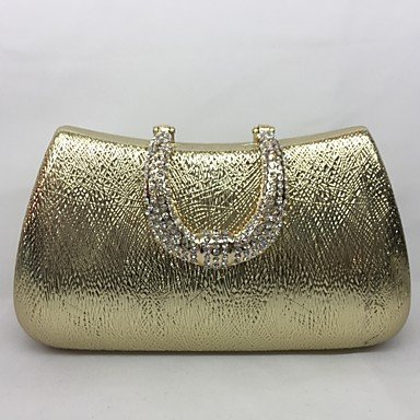 pwne Frauen Abend Tasche Metal All Seasons Event / Party Hobo Push Lock Silber Schwarz Gold Champagne Gold