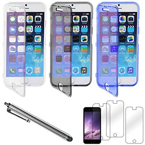 """ebestStar - pour Apple iPhone 6S 6 écran 4.7"""" - Lot x3 Housse Etui Coque Silicone Gel Portefeuille + Stylet tactile + 3 Films protection écran, Couleur Transparent, Violet, Rose [Dimensions PRECISES d Transparent, Noir, Bleu"""