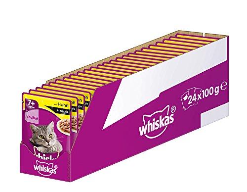Whiskas Katzenfutter Nassfutter Senior 7+ mit Huhn in Sauce, 24 Portionsbeutel (24 x 100g)