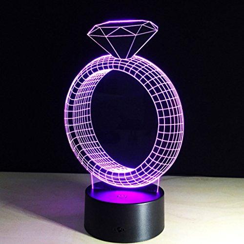 DUHUI Nachtlicht für Kinder Diamant-Ring 3D Illusion LED Nachtlicht, mit 7 Farben Blinkender Touch-Schalter USB Powered Acryl Schlafzimmer für Kinder Geschenke Dekoration