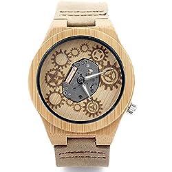 Nueva moda para hombre reloj de madera de bambú natural del reloj de madera con suave y correa de cuero marrón comodidad movimiento de cuarzo Relojes Casual