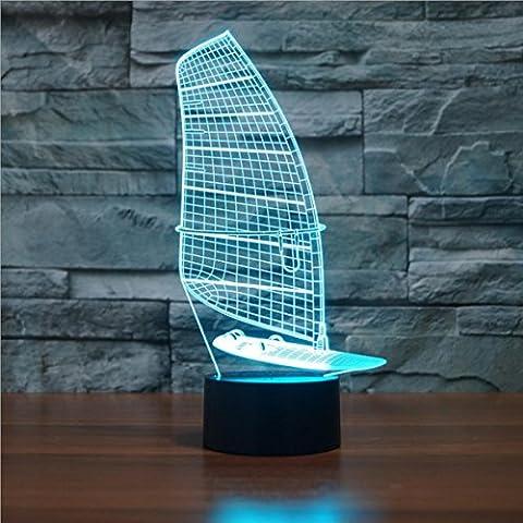 3D Schiff Model Night Light Acrylic Visual Touch USB Tisch Licht LED 7 Farbe Kunst Dekor Creative Home Kind (Spannung: 5V) [Energy Klasse a + (Illusion Glas Schiff)