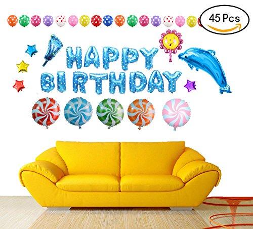 Somine Party Luftballons Set - inklusiv die Ballons mit Geformte von HAPPY BIRTHDAY Buchstaben, Sonnenblume, Lutscher, Stern, Delfine, Fuß Luftballons für Partei Dekoration