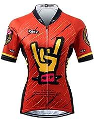Thriller Rider Sports® Mujer Rock Music Deportes y Aire Libre Maillot Manga Corta de Ciclismo Medium