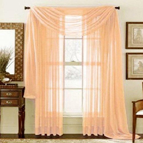 Display08 - tenda con mantovana, in filato di vetro, semitrasparente, colore puro, per casa, camera da letto o come decorazione per matrimoni, 100 cm x 200 cm (appesa), colore: arancione
