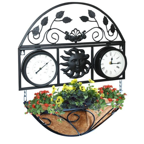decorative-wall-planter-with-clock-and-thermometer