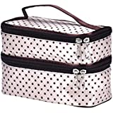 Beige 2 : Make Up Pouches Storage, Koly® Lady's Dot Pattern Double Layer Cosmetic Bag Travel Toiletry Makeup Bag...