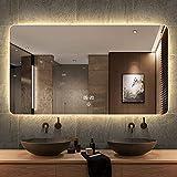 Miroir De Salle De Bain À LED De Maquillage Mural Haute Définition De Rasage Imperméable + Affichage Anti-buée + Température + Interrupteur Tactile Lumière Chaude/Blanche