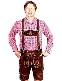 Bayerische Herren Trachten Lederhose kurz, Trachtenlederhose mit Trägern, original in dunkelbraun, Oktoberfest, Größe 44-60