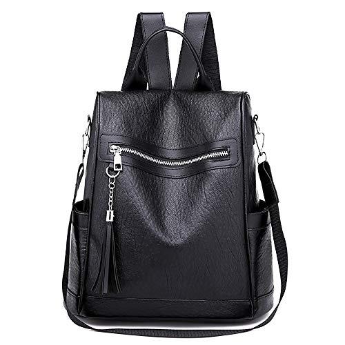 TianWlio Frauen Handtasche Rucksack Lässig Weiches Leder Wild Simple Rucksack Diebstahlschutztasche Schwarz