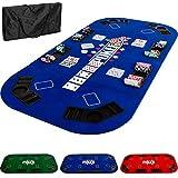Maxstore - Tapis de Poker Pliable - XXL - pour Jusqu'à 8 Joueurs - 160 x 80 cm Panneau MDF - 8 Porte-gobelets - 8 bacs à jetons, Bleu