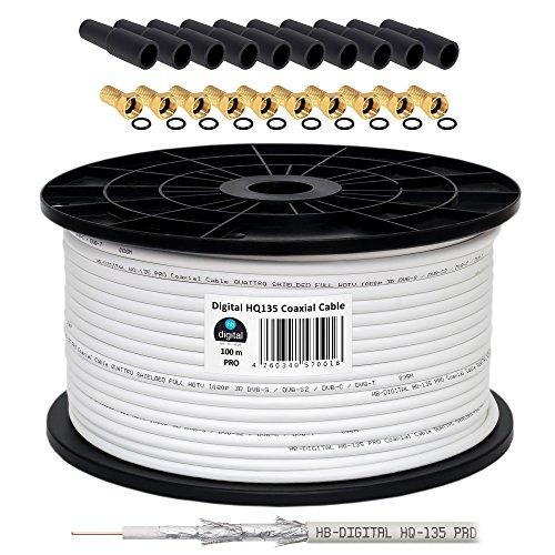 130 db 100 m cable coaxial HQ-135 PRO 4-capas + 10 F-connettore dorado + 10 goma protector para la lluvia para DVB-S/S2 DVB-C y instalaciones DVB-T BK para recibir emisoras de FULL HD 3D Ultra HD UHD señales