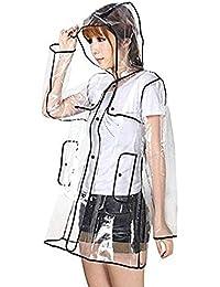 Zicac Fashion City Frauen Transparente klar Regenmantel Raincoat Wasserdichte Regenbekleidung