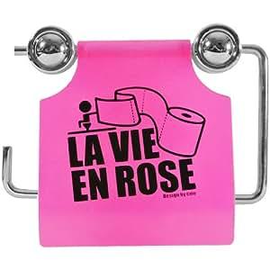 Promobo -Dérouleur Rouleau Papier WC Toilette Picto Smiley Fun Rose