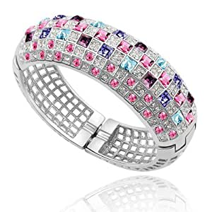 Silver Crystal Diamond Accent Luxury Queen Bracelet Made with Swarovski Crystal, with a Gift Box, Rose Red, Model: X15483