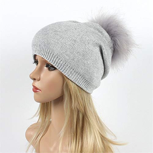 Wolle warme Mütze Vintage Hairball Womens Winter Stricken tägliche Slouchy Hüte Hut (Farbe : Hellgrau)