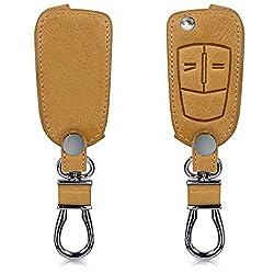 kwmobile Autoschlüssel Hülle für Opel Vauxhall - Kunstleder Schutzhülle Schlüsselhülle Cover für Opel Vauxhall 2-Tasten Klappschlüssel Autoschlüssel - Hellbraun