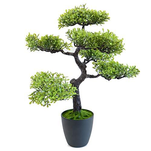 INtrenDU XL Künstlicher Bonsai Baum 48cm im Topf Kunstblumen Fensterdeko künstliche Pflanze