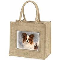 Papillon Dog Large Natural Jute Shopping Bag Christmas Gift Idea